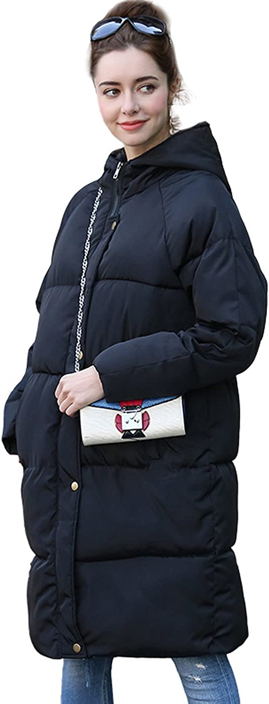 Yeokou Women's Anorak Hooded Long Thick Quited Parka Puffer Winter Jacket Coat