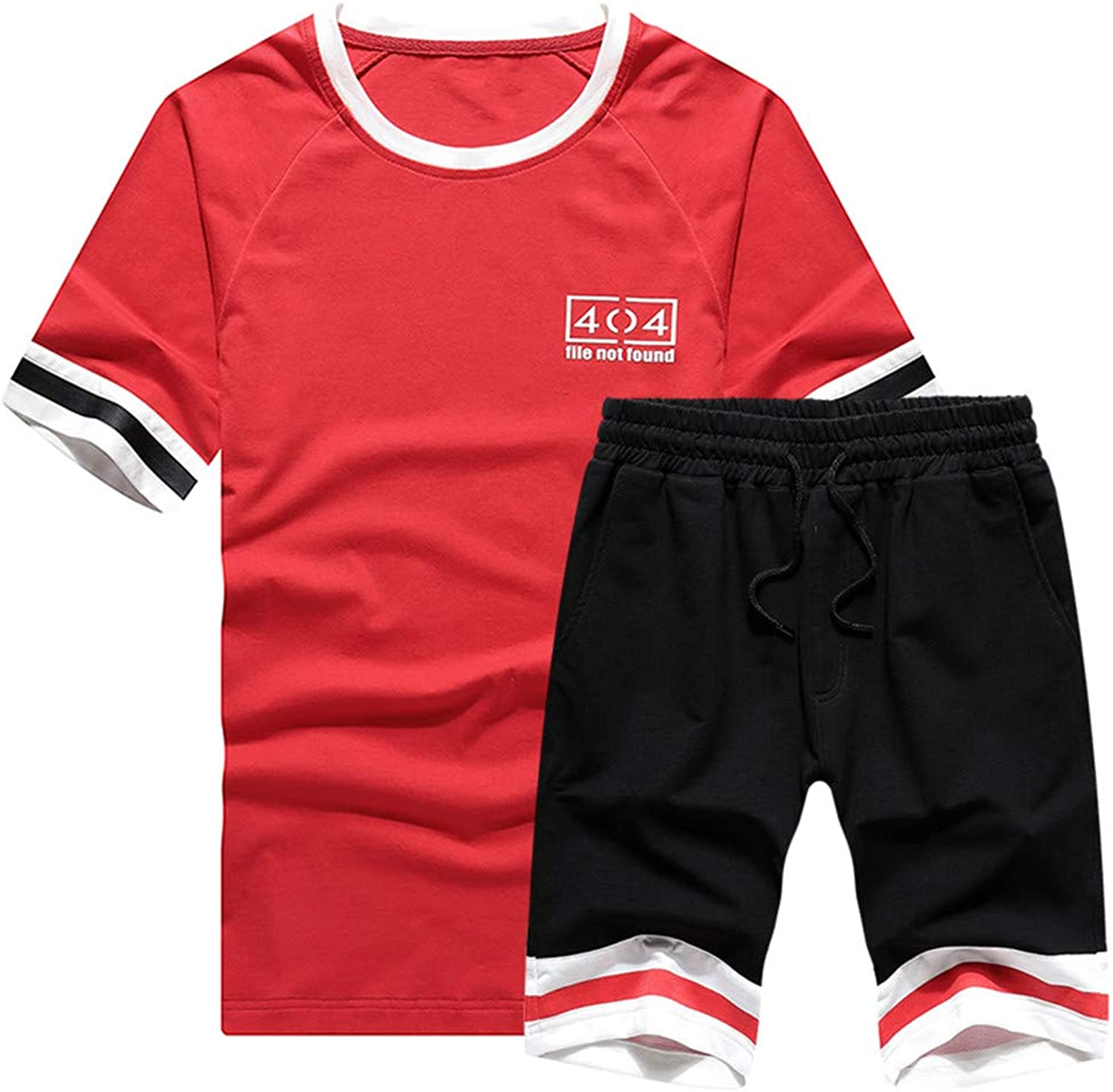 Men's Casual Tracksuit TShirts and Shorts Running Jogging Athletic Sports Set