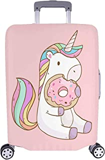 Cute Cartoon Unicorn Eating Donuts Luggage Case Protective Baggage Suitcase Cover for 26