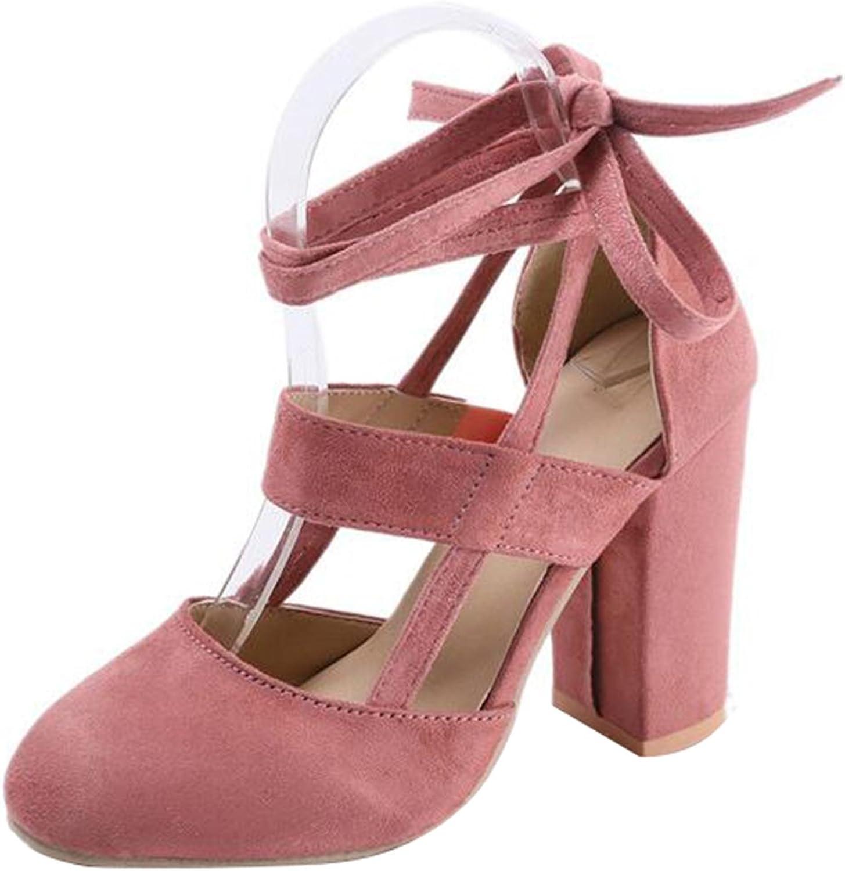 JACKY LUYI Women High Heel Sandals Closed Toe Pumps Square Heel shoes