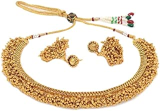 YouBella Jewellery Bollywood Ethnic Gold Plated Traditional Indian Necklace Set with Earrings for Women and Girls