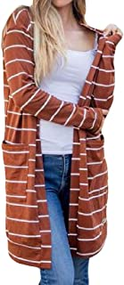 Womens Fashion Stripe Long Sleeve with Pockets Open Front Knit Mid Long Cardigans