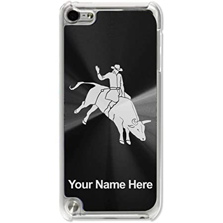 Case Compatible with iPod Touch 5th/6th/7th Generation, Bull Rider Cowboy, Personalized Engraving Included (Black)