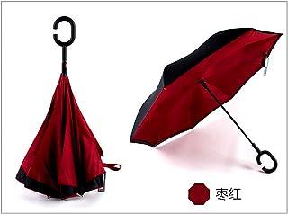Umbrella, Hands-Free Straight Bars, Automatic Reverse Umbrella, Dual Rain Or Shine, Color Options 4,Rose red