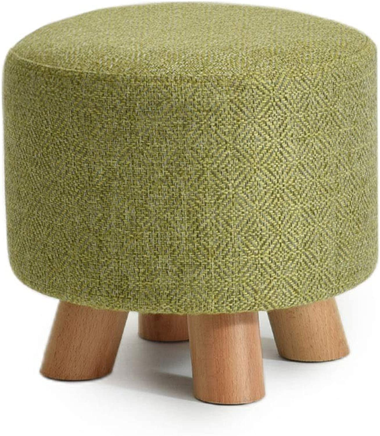 Solid Wood Sofa Footstool Modern Change shoes Bench Living Room Round Stool Linen Low Stool Height 25 × Width 29cm GW (color   Matcha Green)