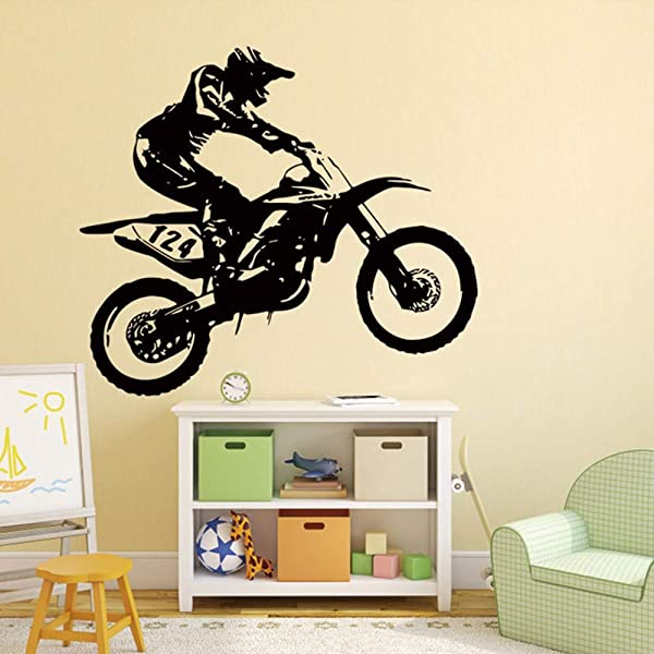 Iusun Wall Sticker Motorbike Motocross 53 60CM Removable DIY Mural Paper Decoration For Room Home Nursery Bedroom Office Supplies Decal Ship From USA Black