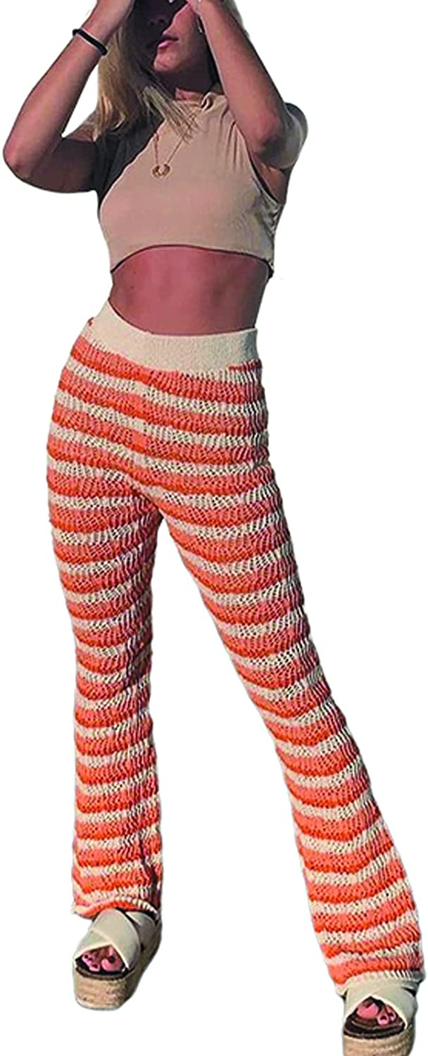 Y2K Striped Knit Pants Casual Wave Knit Beach Pants Fashion Street Loose Bell-Bottom Pants Flared Trousers for Women