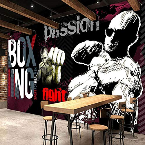 XLXBH 3D muurschildering zelf-hechtend behang fotobehang 3D graffiti gym sportvereniging achtergrond muurschildering waterdicht canvas retro 3D muursticker, kinderkamer kantoor eetkamer woonkamer decoratie 250x175 cm (BxH) 5 Streifen - selbstklebend