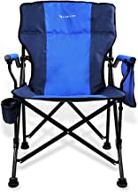 Kamileo Camping Chair, Folding Portable Lawn Chair with Padded Armrest Cup Holder and Storage Pocket (Carry Bag Included)