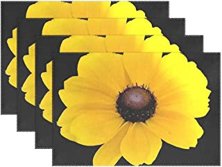 JTMOVING Flower Yellow Summer Black Placemats Set of 4 Heat Insulation Stain Resistant for Dining Table Durable Non-Slip Kitchen Table Place Mats