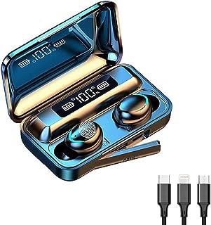 XINYU Auriculares Bluetooth 5.0,Impermeable IPX7,Sonido Estéreo 9D,Pantalla Digital LED Inteligente,2000mAh Cámara de Carga,3 en 1 Multi Cable de Carga Compatible con Phone Samsung Huawei