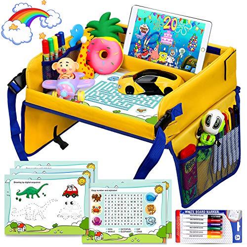 Flyfun Kinder Reisetisch Kindersitz Spiel,  Knietablett Zeichnung auf Waschbar Malbrett, Tragbar Tablett mit 5 Zeichenpapier + 6 Farbstifte, Spieltisch Autositz Tisch für Auto, Kinderwagen