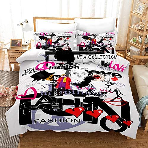 AHKGGM Duvet cover set Double Graffiti de color Bedding 3 pcs Microfiber duvet cover 79x79 inch with zipper closure And 2 pillowcases 20x30 inch -for adults and children's bedrooms