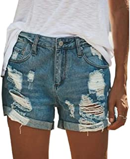 RkBaoye Womens Oversized Straight Denim Ripped Hole Classics Short Pants