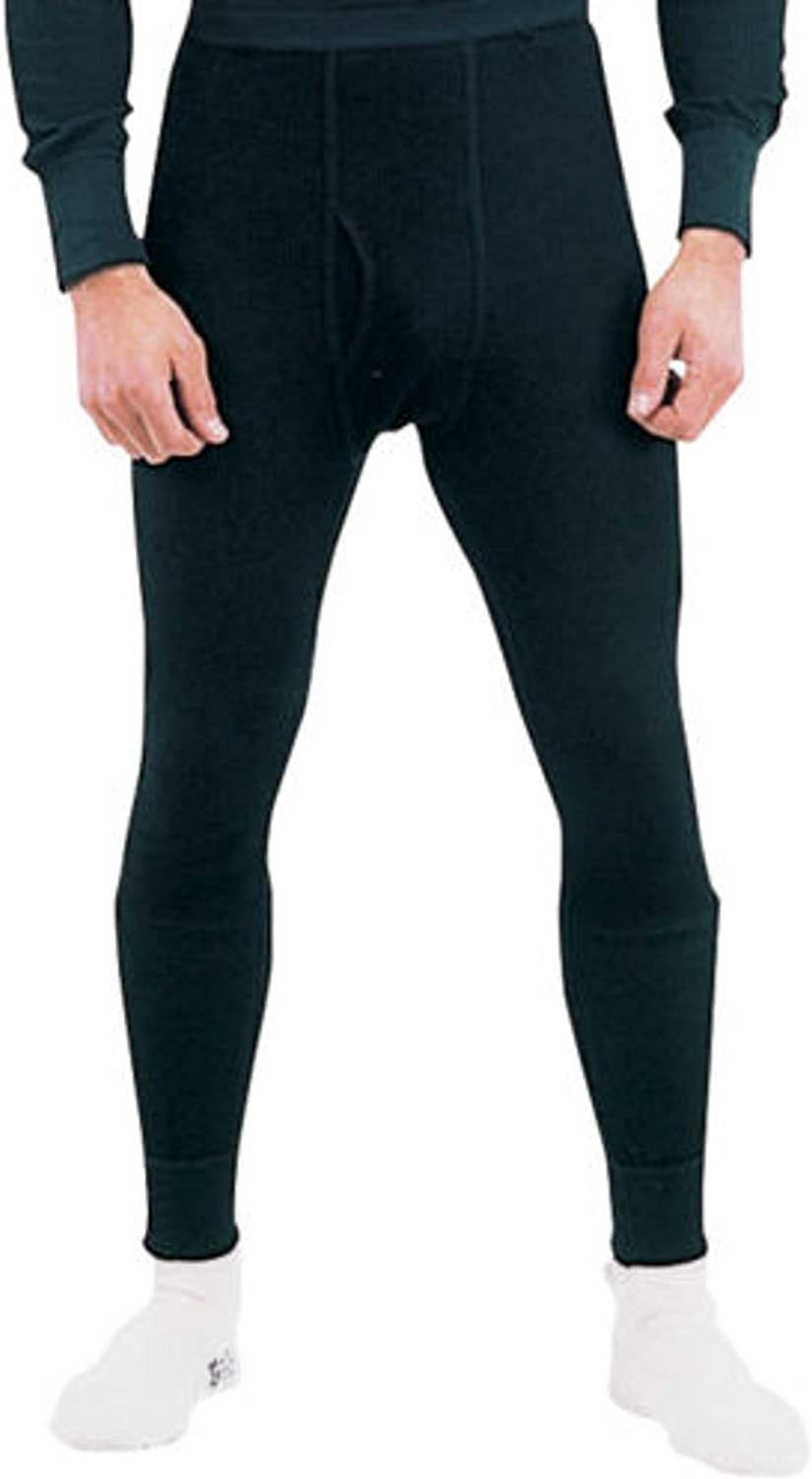 Military Thermal Knit Underwear Cold Weather Long Johns Waffle Warm Base Layer (Black)