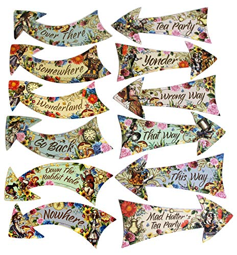 Alice in Wonderland Party Vintage Style Arrow Signs/Mad Hatters Tea Party Props Pack of 12 Signs
