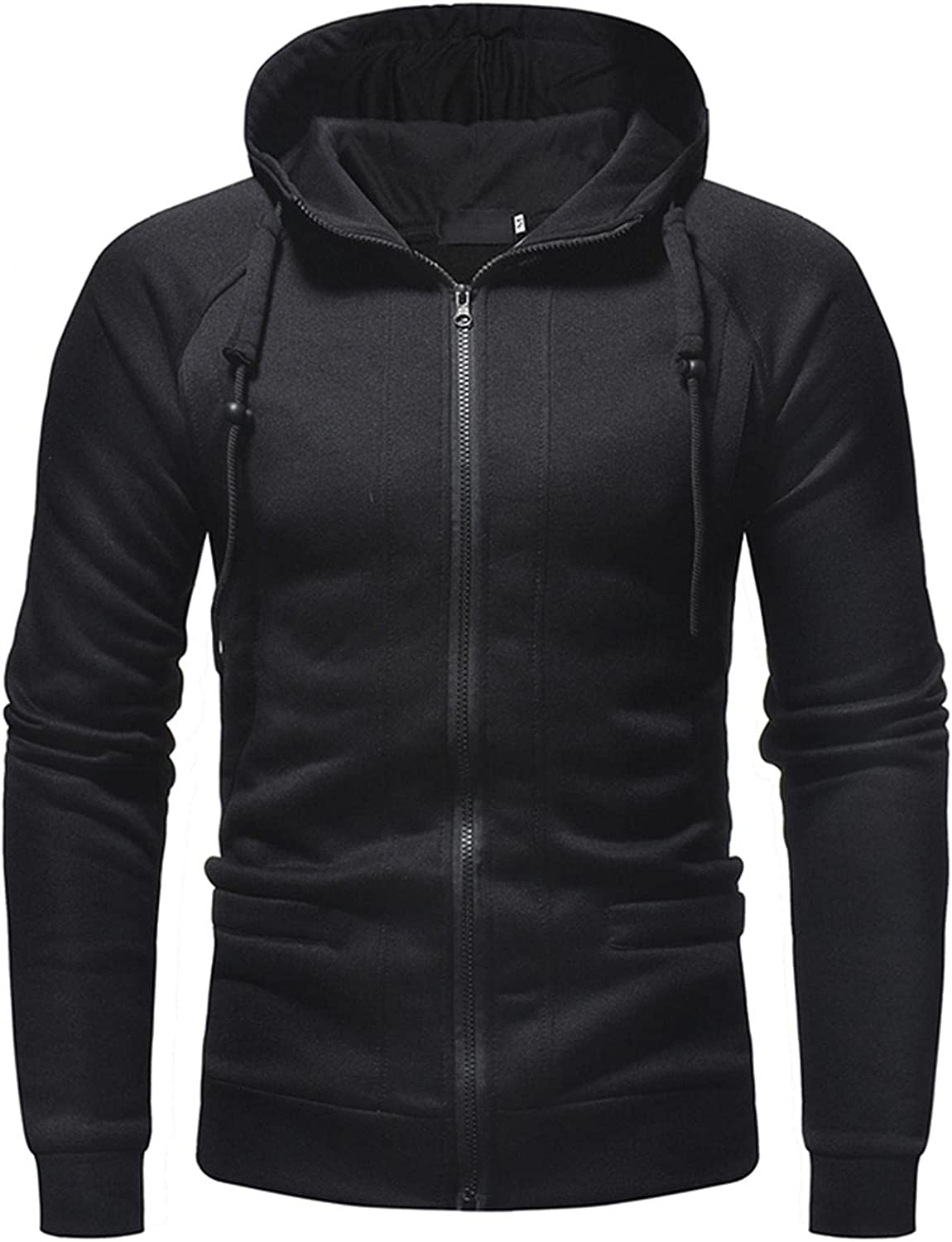Huangse Mens Gym Workout Hoodies Zipper Athletic Bodybuilding Muscle Lightweight Hooded Sweatshirts with Pockets