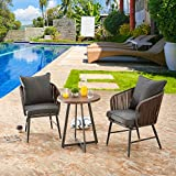 LOKATSE HOME Outdoor 3 Piece Bistro Set Patio Wicker Modern Balcony Furniture Include 2 Chairs with Seat and Back Cushions and 1 Coffee, Brown Table Top