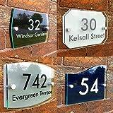 Cartello personalizzato con numero civico, in Acrilico effetto vetro di alta qualità, Scelta di caratteri e colori, 2 parti in acrilico, con nome della strada