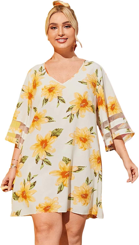 Romwe Women's Plus Size Boho Bohemian Tribal Print Summer Beach Dress