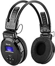 Quelima SH-S1 Foldable Wireless Sports Headphone with IF, Comfortable Protein Earpads,Noise Cancelling Wired Mode for PC/Cell Phones/TV Headset (Black)