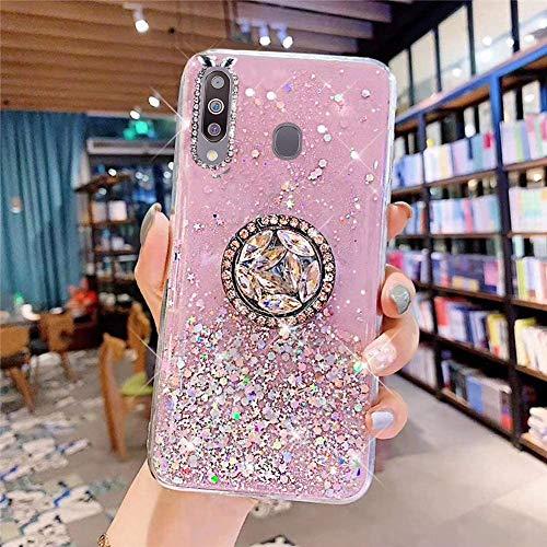 Coque pour Samsung Galaxy M30 Coque Transparent Glitter avec Support Bague,étoilé Bling Paillettes Motif Silicone Gel TPU Housse de Protection Ultra Mince Clair Souple Case pour Galaxy M30,Rose