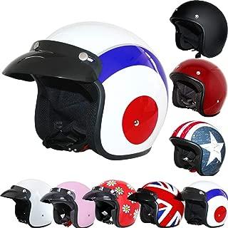 Folconauto Motorcycle Scooter Helmet,Open Face Jet Crash Motorbike Helmet Red L