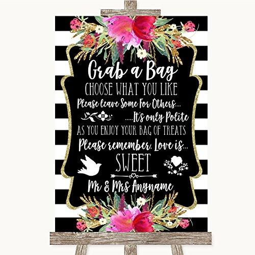 Bruidsbord Poster Print Zwart & Wit Strepen Roze Pak Een Tas Snoep Buffet Winkelwagen Snoepjes Kan Volledig Aangepast Elke Wording Of Kleur - Perfect Venue Decoratie (A3) Large