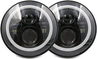 X AUTOHAUX 2pcs DC 10-30V 7 inches Round LED Headlight H4 High Low Beam Headlamp Bulb Turn Signal DRL Halo Ring Angel Eye For Jeep Wrangler JK TJ LJ CJ