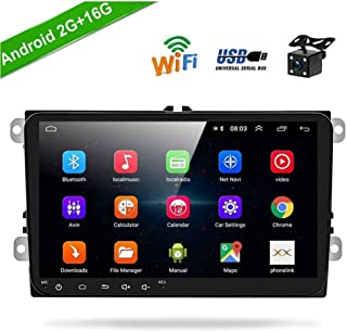 """Android Car Stereo Double Din Car Radio 2G+16G for Volkswagen Passat Golf Jetta Polo Tiguan Touran SEAT Skoda, 9"""" Touch Screen Head Unit in Dash Support GPS Navi WiFi FM USB + Backup Camera"""