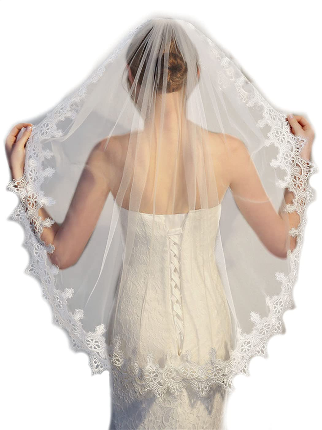 Yokawe Bride Wedding Veil 2 Tier Fingertip Length Bridal Tulle with Comb Lace Edge Hair Accessoies (White)
