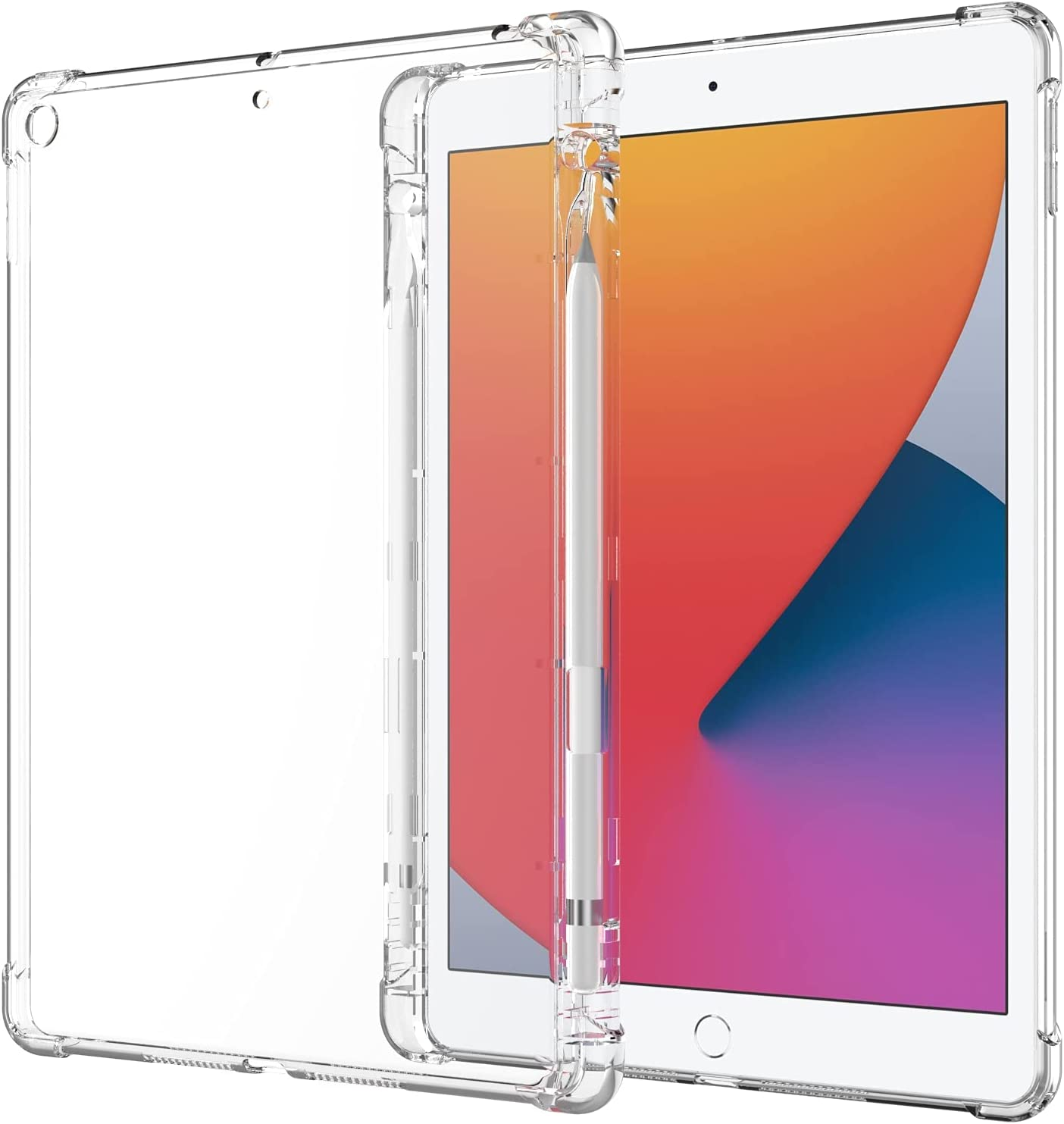 Clear Case for New iPad 10.2 8th generation 2020/ 7th generation 2019 Release with Pencil Holder, Shockproof Transparent Back Cover for iPad 10.2 inch, Soft TPU Silicon Protective Shell For iPad 10.2