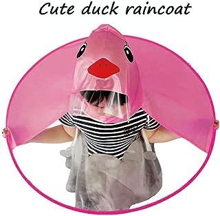 XILALU Kids UFO Raincoat, Windproof & Waterproof Foldable Cute Transparent Cartoon Duck Hands Free Umbrella Hat Funny Rain Coat-Scratch Resist (Hot Pink, Child M)