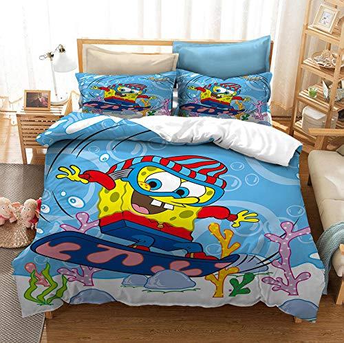 Juego de ropa de cama con funda nórdica para niños de animación 3D de Bob Esponja, niños y niñas ropa de cama con funda edredón de dibujos Tamaño completo textiles para el hogar-F_180x210cm (3pcs)