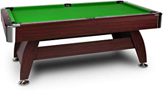 Oneconcept Brighton Mesa de Billar • Mesa de Pool • 2 Tacos • 16 Bolas de plástico • 2 x Tizas • Triángulo • Recubrimiento Verde • Cepillo • Regulable • Chapa de Cerezo • Madera DM • Verde