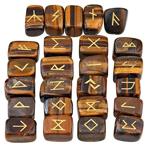mookaitedecor Rune Stones Set with Engraved Elder Futhark Alphabet Crystal Meditation Divination,Tiger's Eye