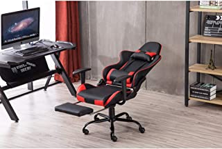 PANFREY High Back Swivel Chair Racing Gaming Chair Office Chair with Footrest Tier Black & Red