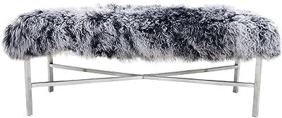 Pasargad's Mongolian Fur Bench