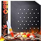 UWEK Grill Mat with Holes for Under Outdoor Grill Set of 6,Grill Mats Non Stick and Easy to Clean BBQ Accessories Works on Gas Grill and Electric Grill Outdoor Reusable Grilling Accessories
