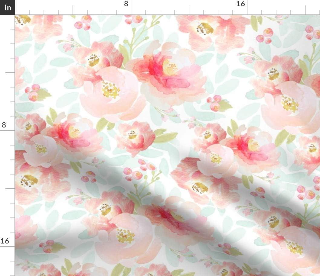 100/% cotton poplin fabric crafts dresses light yelllow baby pink orange roses