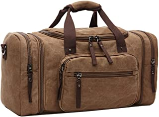 Weekend Bag Unisex, Oversized Canvas Travel Duffel Holdall for Women Men Weekender Overnight Bag with Durable Handle (Coffee)