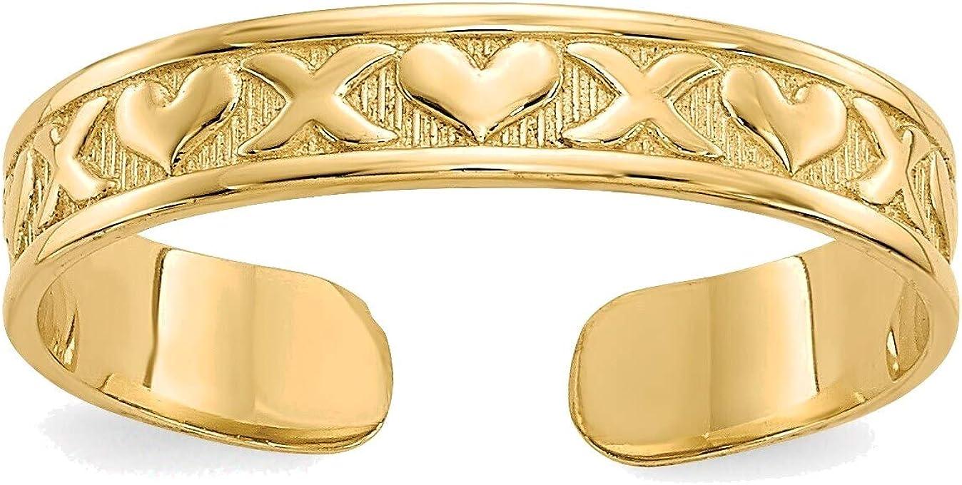 Bonyak Jewelry X & Hearts Toe Ring in 14K Yellow Gold in Size 11