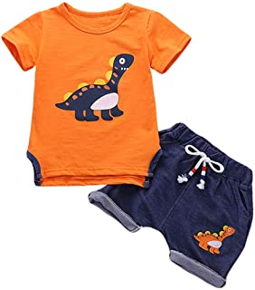 Toddler Outfit Sets Boys Dinosaur Baby Clothes Cotton Short Long Sleeve Tops and Short Pants