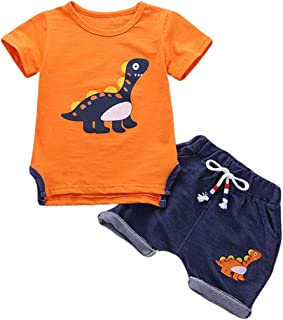 Toddler Outfit Sets Boys Dinosaur Baby Clothes Summer Cotton Short Sleeve Tops and Short Pants