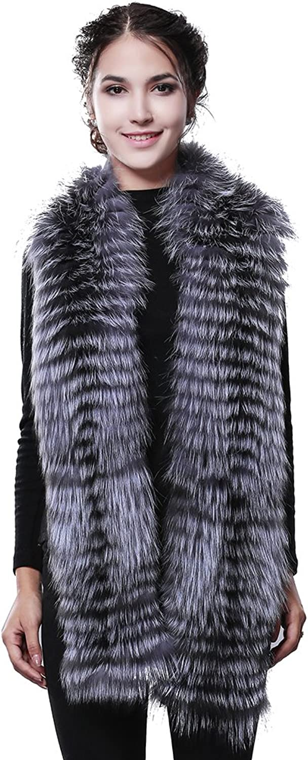 Long Real Fox Fur Scarf women's Winter Scarf corchet Luxury infinity Fur Scarf (Silver)
