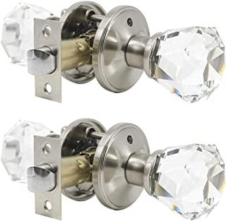 2 Pack Crystal Clear Glass Door Knobs in Diamond Shape, Passage Function for Hallway/Closets/Pantry Doors, Modern Interior Door Handles and Knobs Without Keys, Heavy Duty Satin Nickel Based Knob Set