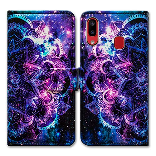 Galaxy A20 Wallet Case,Galaxy A30 Flip Case,Bcov Purple Mandala Galaxy Sky Folio Leather Case Cover with Credit Card Slot ID Card Holder Kickstand for Galaxy A20 A30