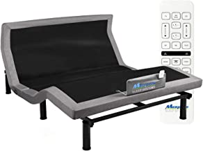 MAXXPRIME Adjustable Bed Frame with Individual Head Tilt, Electric Bed Base with Dual Massage & USB, Under Bed Nightlight,...