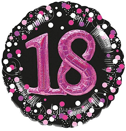 Folieballon * 18e verjaardag * in magenta met 3D-effect en holografie optiek | Metalen folie ballon decoratie party verjaardag helium achttien