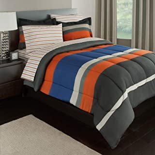 5 Piece Multi Boys Rugby Stripes Pattern Comforter Twin Set With Sheets, Beautiful Sports Striped Theme, Horizontal Sporty Lines Print Design, Vibrant Orange Blue Grey, For Unisex, Polyester Cotton